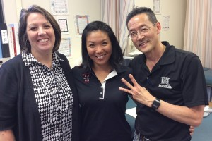 Shannon Yonamine, Louise Inafuku, and Dr. Alson Inaba holding up the number 3 for 3 lives saved