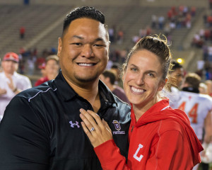 Chaz Kekipi, athletic trainer at Servite High School, and Karen Zieger athletic trainer for Orange Lutheran High School